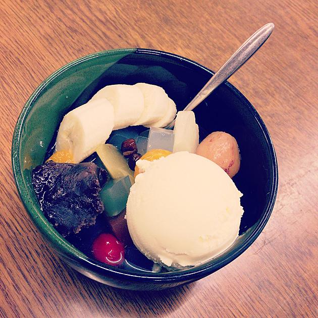 バニラアイスのデザートの画像