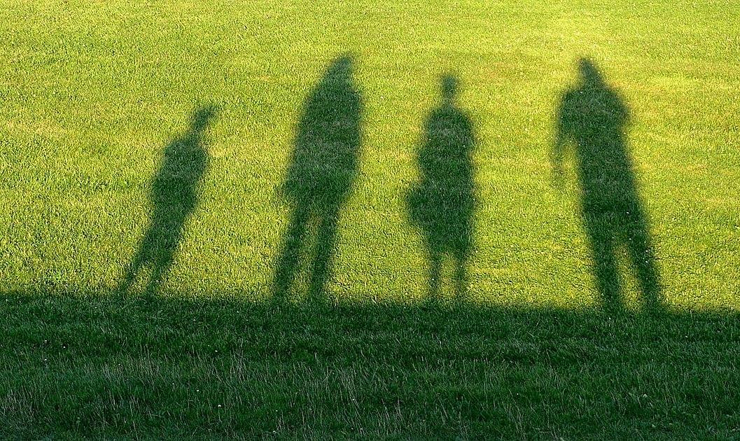 芝生に家族の影が写っている写真