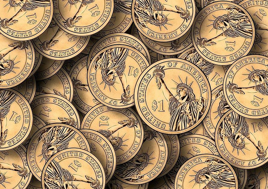 コインが積まれている写真