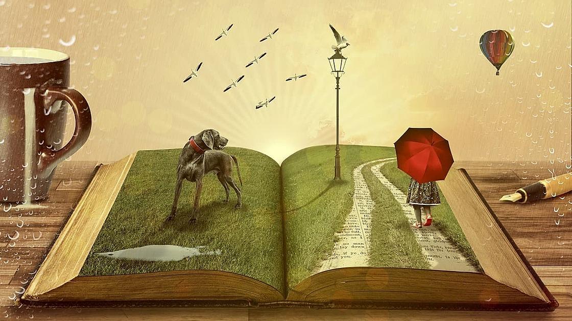 開いた本に動物が乗っている画像